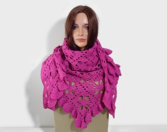 Crochet Shawl, Handmade Triangle Shawl, Fuchsia Pink, Lace Crochet Shawl, Gift for Her, Pink Scarf, Women Fashion