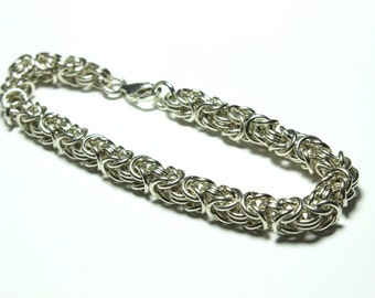 Sterling Silver Byzantine Chainmaille Bracelet | Hand Crafted Chainmaille Jewelry | Handmade Bracelet