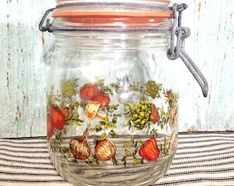 Pot bidon rétro vintage thème champignon, artichaut tomate poivre épices, verrouillage couvercle bocal 3/4 de litre
