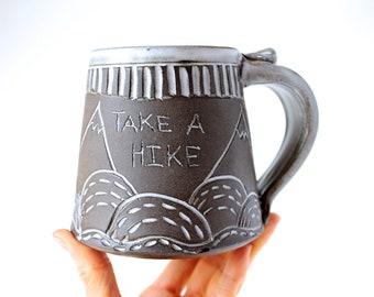 Handmade Mug, READY TO SHIP, Wheel-Thrown Pottery Mug, Cream White Glaze over Dark Chocolate Clay, Mountain Range