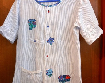 Upcycled blouse, eco chic top, altered mans shirt, repurposed shirt.