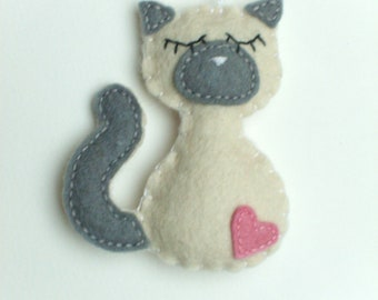 Felt Siamese cat ornament handmande Christmas Housewarming home decor Baby shower nursery eco friendly animals kitty kitties its a boy girl