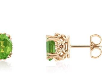 14K Peridot Stud Earrings - 14K Yellow Gold Scroll Detail Settings - Genuine Green Peridot Gemstone - August Birthstone - 7 x 5 Oval Shape