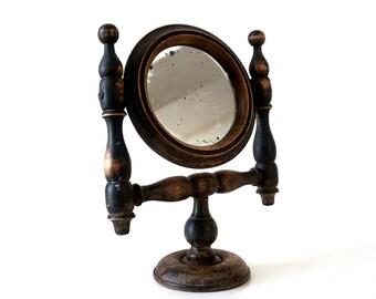 Antique Shaving Mirror - 1800's Turned Oak Handmade Adjustable Mirror - Victorian Mirror - Small Wooden Mirror