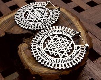 big earrings, mandala earrings, silver earrings, sri yantra earrings, hoop earrings,yoga earrings, tribal earrings, large earrings,