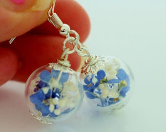 Forget me not Earrings, Flower Earrings, Bridal Wedding Bridesmaid, Valentines Gift for Her, Wishes on the Wind