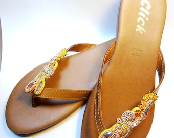 Soutache sandals, summer sandals, decorated sandals, beach sandals, flip flops, genuine leather sandals
