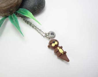 Otter necklace, Initial necklace, personalized necklace, otter jewelry, cute unique gift, cute animal gift, otter gift, polymer clay brown