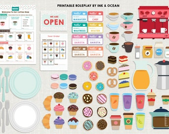Pretend play bumper Printable Coffee shop, cafe, Activity role play set for class, school or home school.