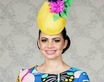 Yellow Percher Headpiece with bold pink, blue and green flower and feather feature - ON SALE!