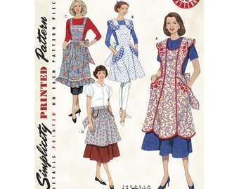 Retro Apron Pattern, Simplicity Pattern 3544, Misses', 1940s & 1950s Vintage Aprons, Pinafore and Half Apron Style, New Uncut Sewing Pattern