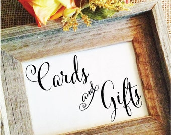 Wedding Cards and Gifts Wedding Sign Cards and Gifts Sign 5x7, 4x6, 8x10 Table Sign Wedding Cards Sign Wedding Gifts Sign wa8cgs (NO Frame)