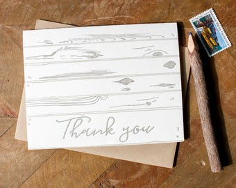 Letterpress Thank you card set, folded thank you cards in calligraphy, wood, driftwood, reclaimed