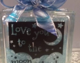Glass Block Love you to the Moon and Back