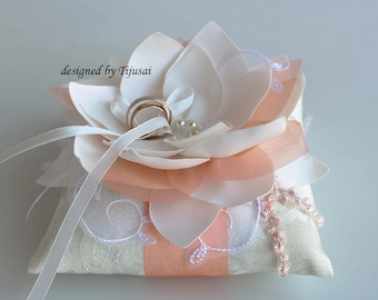 Wedding ring pillow with ivory Lily flower, peach details and emroidering-ring holder, ring pillow-ready to ship