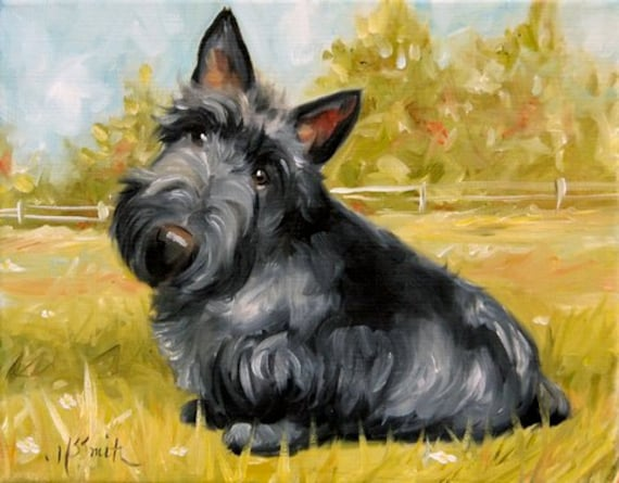 scottish terrier don t print scottish terrier scottie dog puppy art oil painting 421