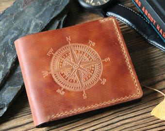 Mens Wallet Leather, Personalized Leather Wallet for Men, Fathers Day Gift, Mens Gift Personalized Wallet, Bifold Wallet Slim, Compass Orsus