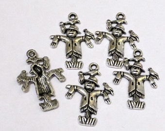 10 x Tibetan Silver Scarecrow Charms - 3D - Wizard of OZ Charms - 25mm - LF NF - TS350
