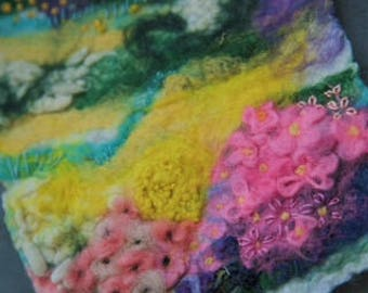 Felted and Mixed Media Landscape - Country Flowers