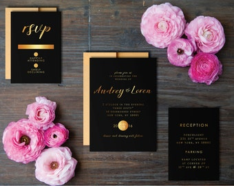 Black and Gold Wedding / Invitation Suite / Printed Wedding Invitation / Black and Gold Wedding / Gatsby Wedding / Art Deco Wedding
