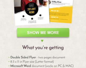 Photography Flyer Design, Fashion Flyer Design, Letter Size Flyer Template, Double Sided Brochure, Word Flyer Template, Printable Flyer