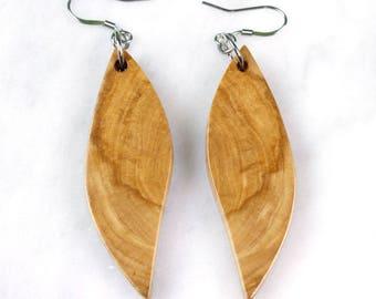 Mirrored wood grain dangle earrings wing shaped wood earrings reclaimed wood jewelry gift for women bohemian style lightweight