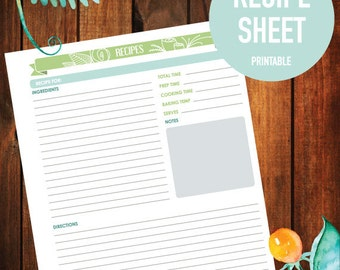 Printable Recipe Sheet, Recipe, Digital Download, 8.5x11 (FLORAL BANNER)