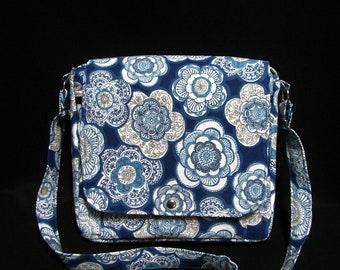 Large messenger bag- Blue floral canvas