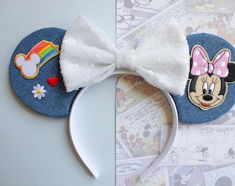 Denim Mouse Ears + Patches