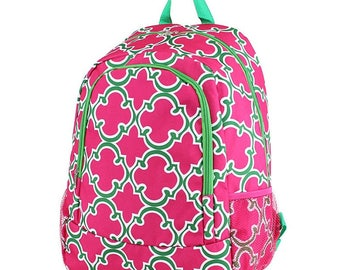 Quatrefoil Monogram Backpack, Personalized Backpack, Monogram Bookbag, Boys Backpack, Pink Backpack, Kids Backpack, School Backpack