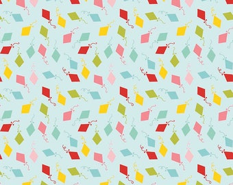 Happy Day Kites Aqua - Riley Blake Designs - Blue Green Pink Red Aqua Yellow Kite - Quilting Cotton Fabric - choose your cut