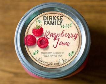 Customized Label - Raspberry Jam, Jelly, Preserves, Juice Canning Jar Label - Wide Mouth & Regular Mouth - Vintage- All Text is Customizable