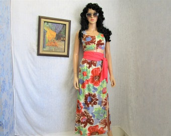 60s M Long Skirt & Cropped Top Coral Pink Powder Blue