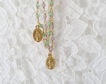 Necklace with rosary chain and madonnina pendant