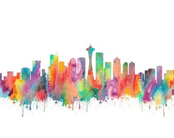 Seattle Skyline Print - Seattle Watercolor, Seattle Print, Seattle Poster, Seattle Washington Decor, Seattle Painting, Seattle Art Cityscape