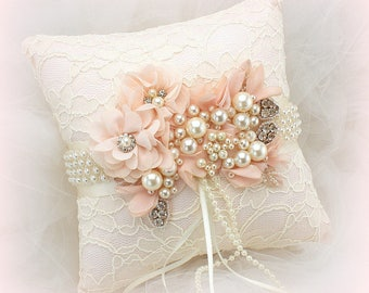 Vintage Style Ring Bearer Pillow Blush and Ivory, Beaded Lace Wedding Ring Pillow, Ring Cushion with Pearls, Ready To ship