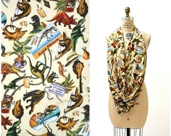 Vintage Dinosaur Scarf Nicole Miller Large Silk Scarf // Large Animal Print Reptiles T Rex Paleontologist Paleontology Scarf Pop Art