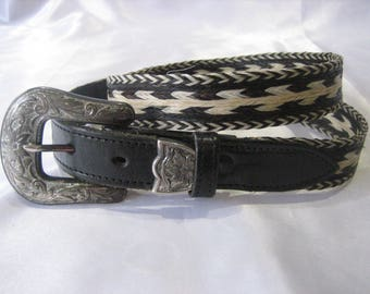 Vintage Genuine Hand Braided Horse Hair Leather Belt Size 34