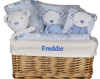 Beautiful Personalised Baby Gift Basket with 7 Piece Layette Set in Blue or White