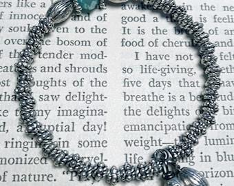 Silver and Aquamarine Stacking Bracelet
