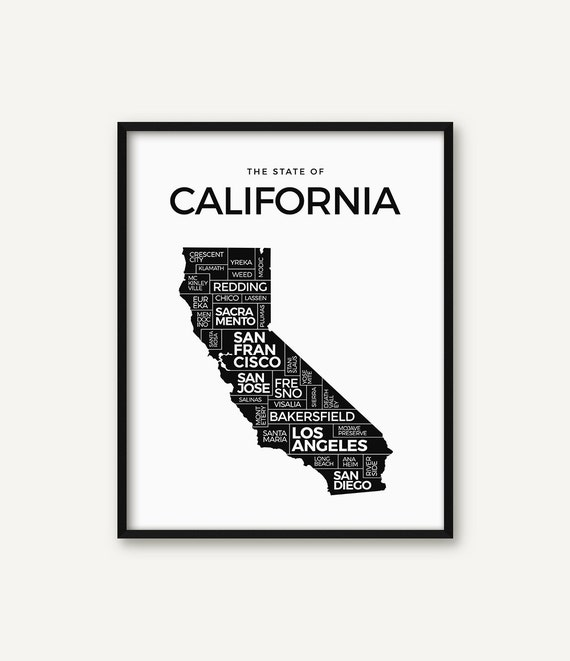 California Print California Map Print California Poster