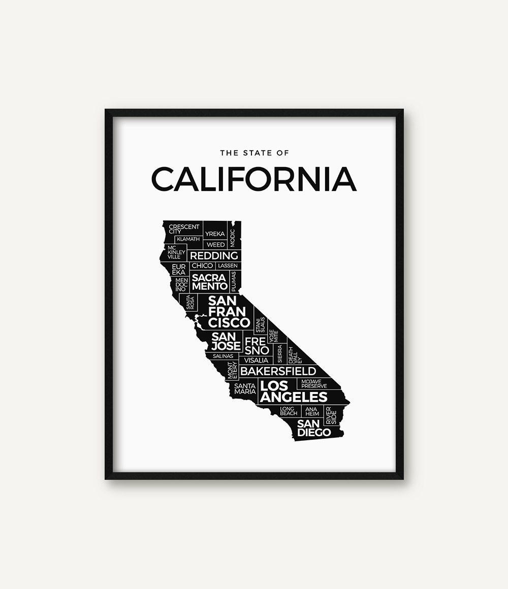California Druck Kalifornien Karte drucken Kalifornien