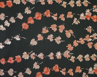"1/2 YARD, TRICOT KNIT Print, Peach Orange Falling Leaves on Black, 60"" Wide Fashion Fabric, Semi Sheer, Lightweight Polyester Acetate, B28"