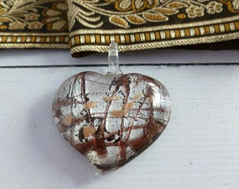 Vintage Murano Fused Glass Heart Shape Pendant in Fall Colours of Rusty Plums, Browns and Yellow on Silver Background,  Gift for Her
