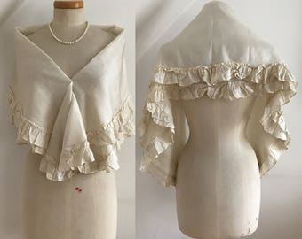 Regency 1800s Shoulder Wrap Stole Shawl Antique Chinese Silk Hand Sewn