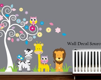 Nursery Wall Decal With Owls,  Zebra, Giraffe, Lion - Baby - Vinyl Sticker