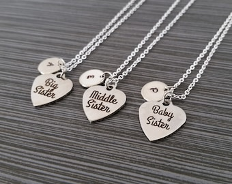 Three Sister Necklaces - Big Sister Necklace - Baby Sister Middle Sister Personalized Necklace - Custom Gift Initial Necklace - Sister Gift