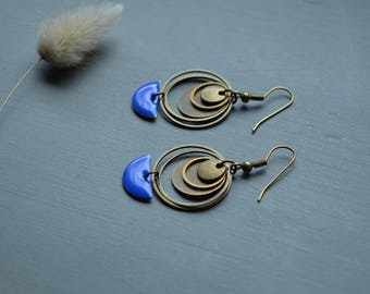 Bronze brass color and Royal Blue ethnic earrings