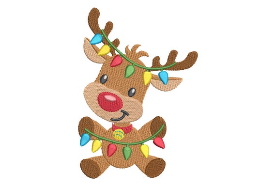 christmas reindeer machine embroidery design fill stitch rudolph reindeer embroidery cute reindeer 2 sizes instant download no sa528 2 from - Christmas Reindeer 2