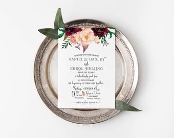 Printable Wedding Invitation Set, Floral Watercolor Wedding Invite, Outdoor Wedding, Rustic Wedding, Nature Wedding Template #MF001